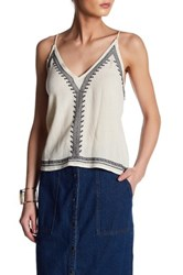 Astr Embroidered Tassel Linen Blend Camisole Multi
