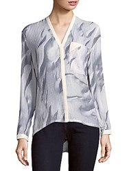 Helmut Lang Printed Dropped Shoulder Button Front Top White