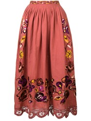 Ulla Johnson Floral Lace Skirt Red