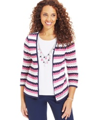Alfred Dunner Layered Look Pointelle Cardigan And Removable Necklace
