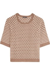 James Perse Pointelle Knit Cashmere Sweater Light Brown