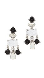 Oscar De La Renta Dahlia Resin Clip On Drop Earrings Black