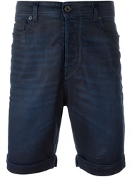 Diesel Black Gold Coated Denim Shorts Blue