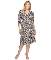 Kiyonna Essential Wrap Dress Pink Safari Women's Dress Gray