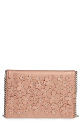 Chelsea 28 Chelsea28 Floral Faux Leather Clutch Metallic Rose Gold