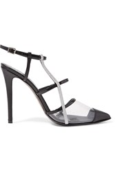 Fendi Iridia Pvc Trimmed Croc Effect And Patent Leather Pumps Black