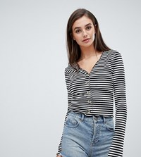 Asos Design Tall V Neck Top In Rib With Button Front And Long Sleeve In Stripe Multi