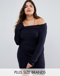 Club L Plus Knit Bardot Cable Jumper Dress Dark Navy