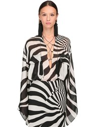 Roberto Cavalli Zebra Print Sheer Silk Top Black