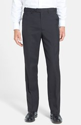 Men's Berle Self Sizer Waist Tropical Weight Flat Front Trousers Black