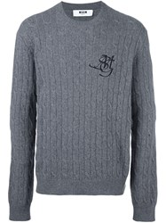 Msgm Cable Knit Jumper Grey