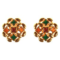 Alice Joseph Vintage 1980S Givenchy Gold Plated Enamel Round Clip On Earrings Multi