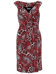 Gina Bacconi Animal Glimmer Jersey Dress Red