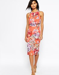 Asos Crop Top Midi Pencil Dress In Orange Floral Orange