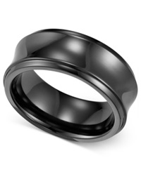 Triton Men's Black Titanium Ring Concave Wedding Band 8Mm