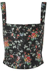 Brock Collection Tayten Printed Silk Taffeta Bustier Top Black