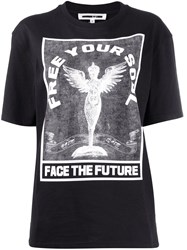 Mcq By Alexander Mcqueen 'Free Your Soul' Printed T Shirt Black