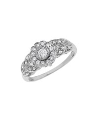 Lord And Taylor Diamond 14K White Gold Floral Ring Diamond White Gold