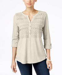 Styleandco. Style Co. Crochet Detail 3 4 Sleeve Top Only At Macy's Stonewall