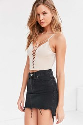 Silence And Noise Dagmar Plunging Criss Cross Crop Top Cream