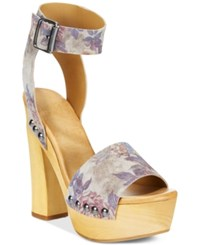 Mojo Moxy Wildflower Wooden Platform Sandals Women's Shoes Grey