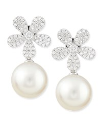 Fleur White Diamond And Pearl Earrings Belpearl