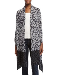 Neiman Marcus Cashmere Collection Cashmere Animal Print Wrap Gray