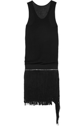 Jay Ahr Fringed Suede And Stretch Jersey Mini Dress