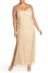 Brianna Plus Size Women's Sheer Sleeve Beaded Gown
