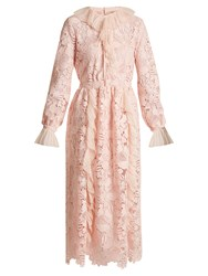 N 21 Ruffle Trimmed Long Sleeved Guipure Lace Dress Light Pink
