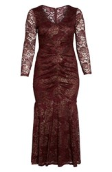 Marina Plus Size Women's Foil Lace Ruched Mermaid Gown Burgundy