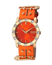 Versus By Versace Miami Crystal Round 40Mm Women's Watch Golden Orange