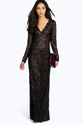Boutique Mia Sequin And Mesh Plunge Neck Maxi Dress