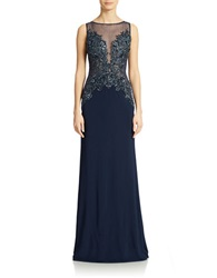 Basix Ii Beaded Bodice Illusion Gown Navy