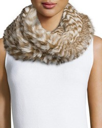 Monique Lhuillier Knitted Rabbit Fur Check Infinity Scarf Camel
