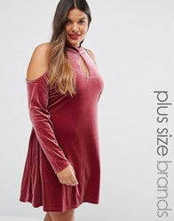 Alice And You Cold Shoulder Velvet Swing Dress Raspberry Purple
