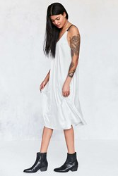Silence And Noise Colorblock Satin Midi Slip Dress Cream Multi