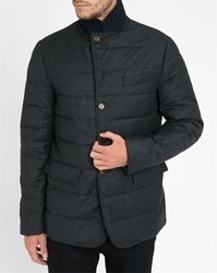 Tommy Hilfiger Padded Jacket Wool Houndstooth Made In Italy Grey