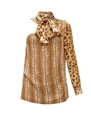 Hillier Bartley Leopard Print Pussy Bow One Shoulder Satin Top Animal