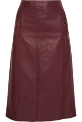 Vanessa Seward Absolu Leather Skirt Burgundy