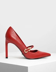 Charles And Keith Leather Infinity Buckle Mary Jane Pumps Red