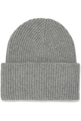 Iris And Ink Sandra Ribbed Wool Cashmere Blend Beanie Gray