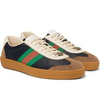 Gucci Jbg Webbing Trimmed Leather And Suede Sneakers Navy