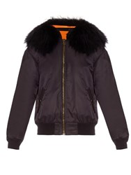 Mr And Mrs Italy Fur Trimmed Nylon Bomber Jacket Navy