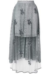 Stella Mccartney Embellished Lace High Low Skirt Grey