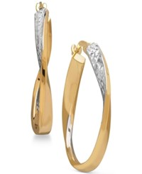 Macy's Two Tone Twisted Hoop Earrings In 14K Gold With Rhodium Plate Two Tone
