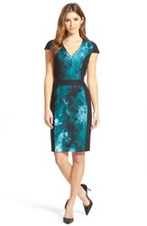 Women's Adrianna Papell Print Block Cap Sleeve Stretch Cotton Dress