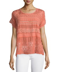 Johnny Was Short Sleeve Embroidered Georgette Tee Red Coral