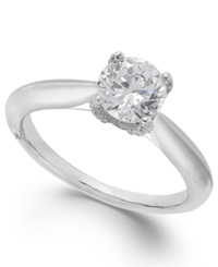 Classic By Marchesa Certified Diamond Solitaire Engagement Ring In 18K White Gold 1 Ct. T.W.