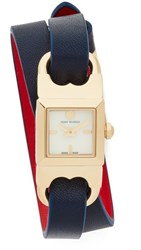 Tory Burch The Gemini Link Duo Strap Watch Ivory Gold Navy Parrot